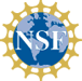 NSF logo with the letters N S F in white overlaid on a blue globe ringed with yellow points