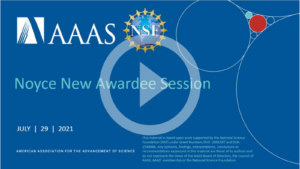 Noyce New Awardee Session opening slide from video recording.